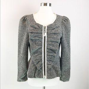 Anthropologie Elevenses Gray Zip Blazer Jacket 8
